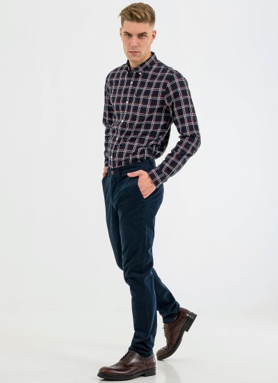 Men Pants Core.Chino Blue Cotton Superdry