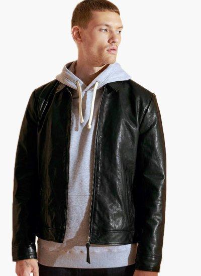 Men Jackets Indie Black Leather Superdry