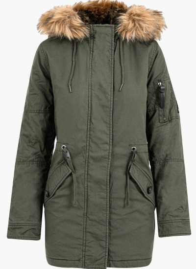 Women Coats - Jackets Rokkie.Parka Olive Cotton Superdry