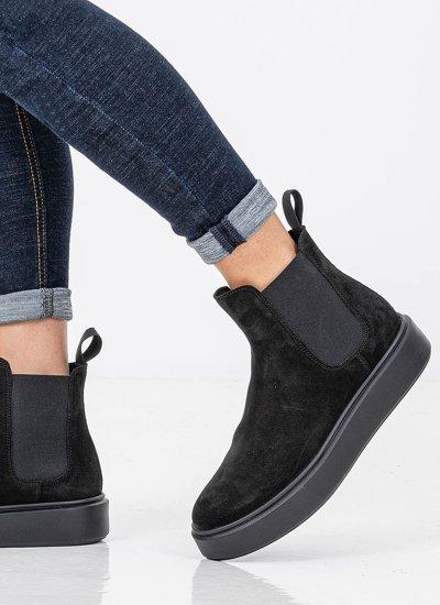 Women Boots 41A3 Black Suede Leather Frau