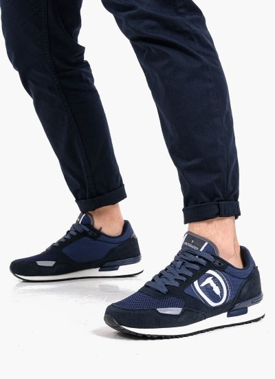 Men Casual Shoes Pentas DarkBlue Suede Leather Trussardi Jeans