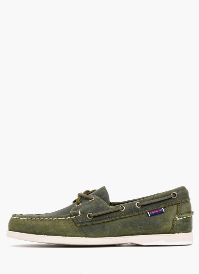 Men Sailing shoes 70015H0 Green Oily Leather Sebago