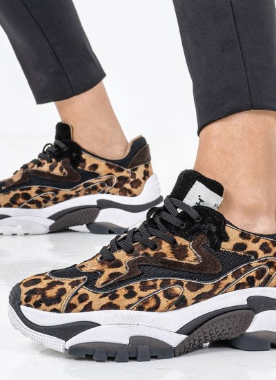 Women Casual Shoes Addict.Ter Leopard Pony Ash