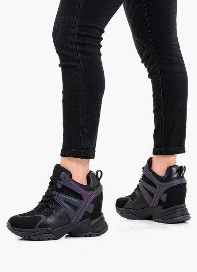 Women Casual Shoes Infinity.Combo Black Leather Ash