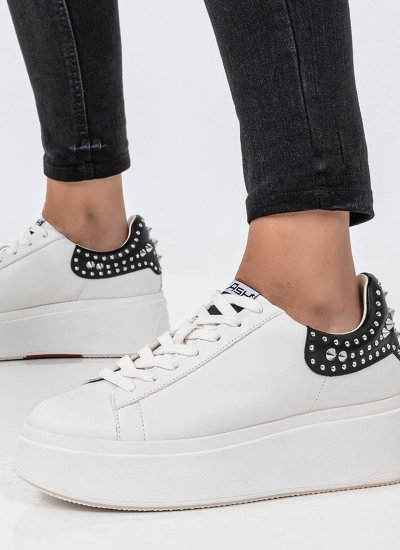 Women Casual Shoes Moby.Studs White Leather Ash