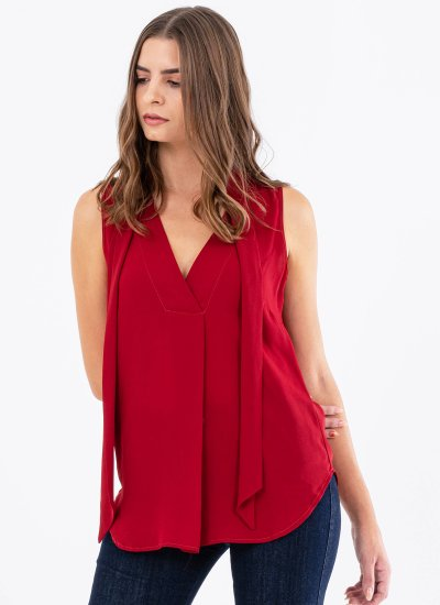 Women T-Shirts - Tops Bedevil Red Polyester Silvian Heach