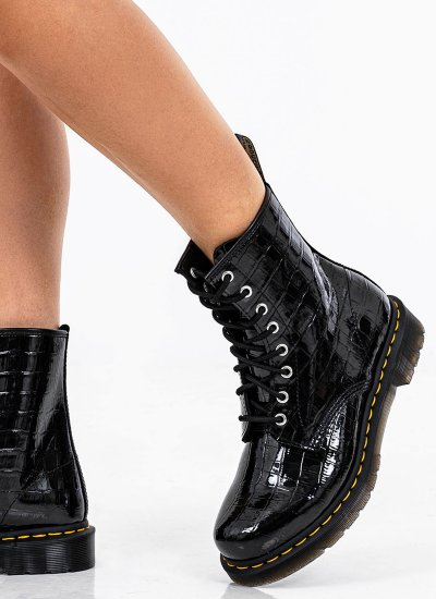 Women Boots 26262001 Black Shiny Leather Dr. Martens