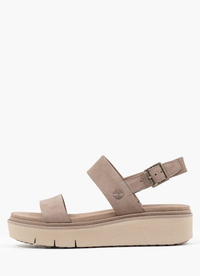 Women Platforms Low A274F Taupe Nubuck Leather Timberland