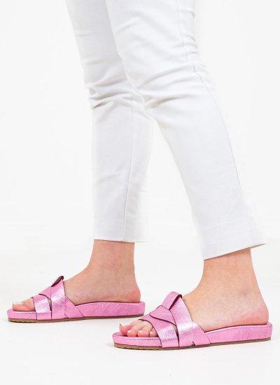 Women Flat Sandals 1041 Pink Leather Mortoglou