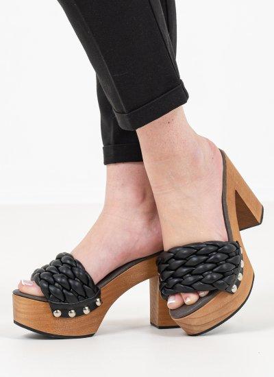 Women Mules 116886 Black Leather Mortoglou