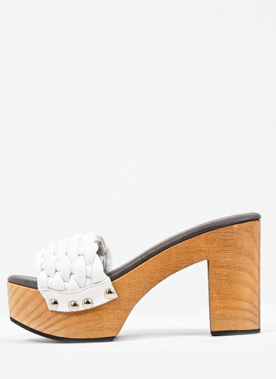 Women Mules 116886 White Leather Mortoglou