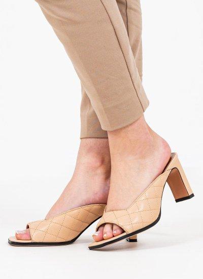 Women Mules 116904 Nude Leather Mortoglou