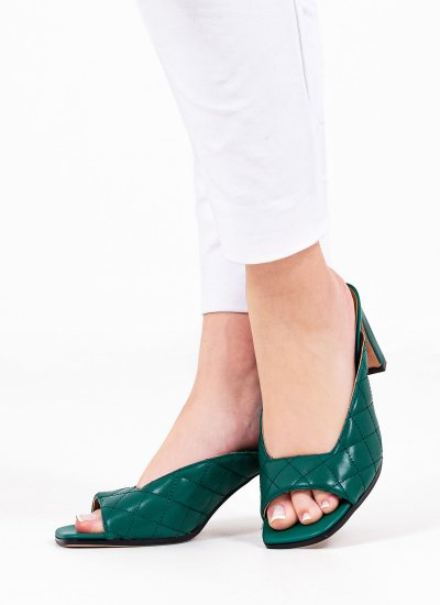 Women Mules 116904 Green Leather Mortoglou