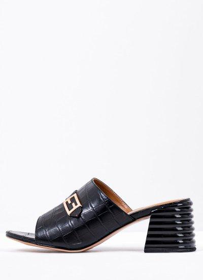 Women Mules 116907 Black Leather Mortoglou