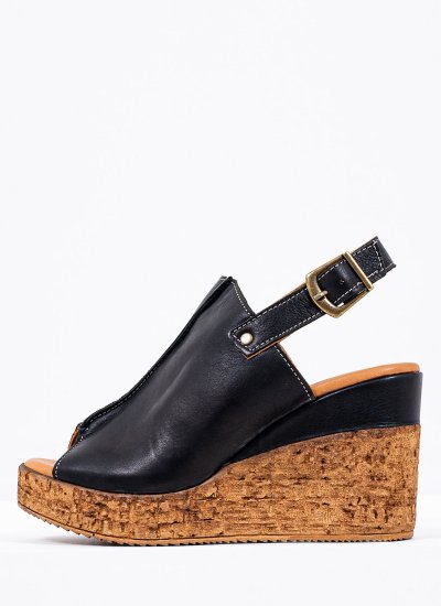 Women Platforms High 20615 Black Leather Mortoglou
