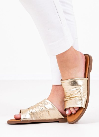 Women Flat Sandals 20648 Gold Leather Mortoglou