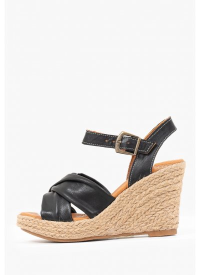 Women Platforms High 9544 Black Leather Mortoglou
