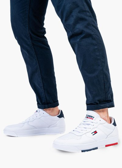 Men Casual Shoes Basket.Leather White Leather Tommy Hilfiger