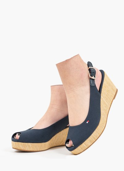 Women Platforms Low Elba.Wedge Blue Tommy Hilfiger