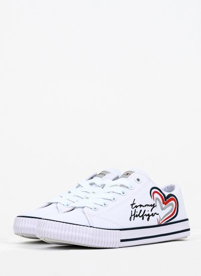 Kids Casual Shoes Lace.Up118 White Fabric Tommy Hilfiger
