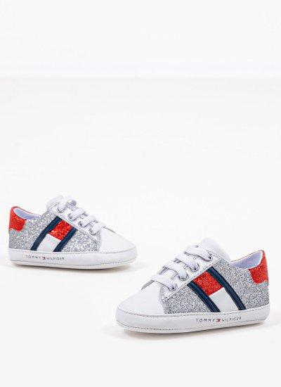 Kids Casual Shoes LaceUp.S Silver Eco-Leather Tommy Hilfiger