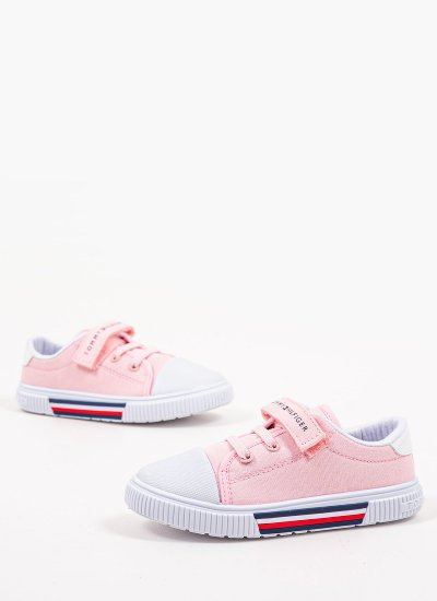 Kids Casual Shoes LowCut.A Pink Fabric Tommy Hilfiger