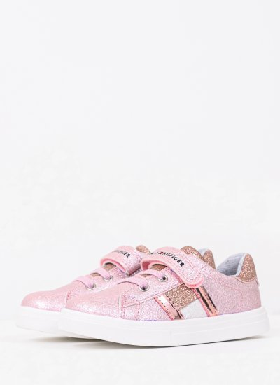 Kids Casual Shoes Velcro.Sn1 Pink Eco-Leather Tommy Hilfiger