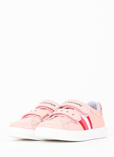 Kids Casual Shoes Velcro.Sn621 Pink Eco-Leather Tommy Hilfiger
