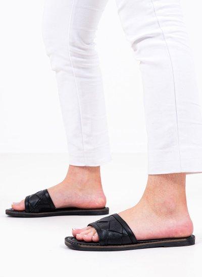 Women Flat Sandals 27125 Black Leather Tamaris