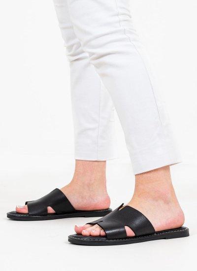 Women Flat Sandals 27135 Black Leather Tamaris