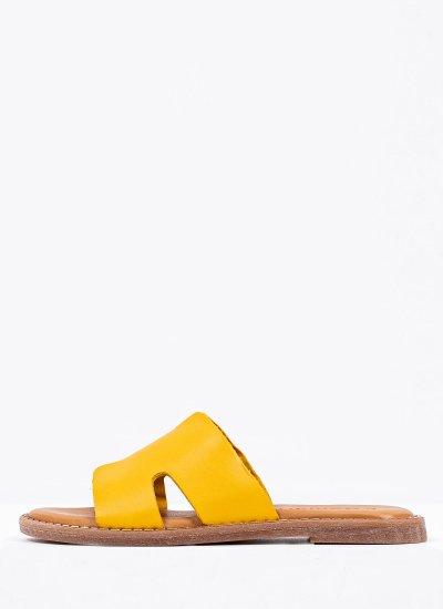 Women Flat Sandals 27135 Yellow Leather Tamaris