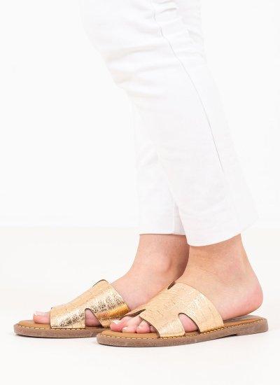 Women Flat Sandals 27135 Bronze Leather Tamaris