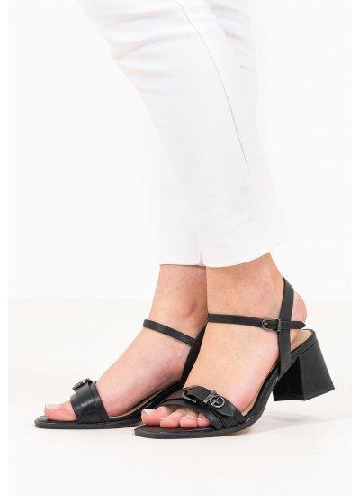 Women Sandals Low 28010 Black Leather Tamaris