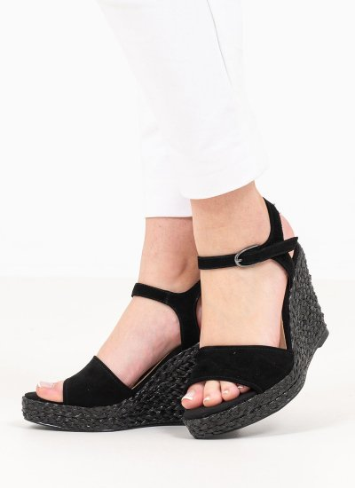 Women Platforms High 28363 Black Suede Leather Tamaris