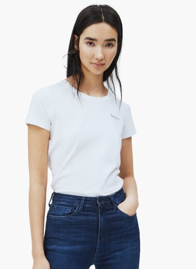 Women T-Shirts - Tops Bellrose White Cotton Pepe Jeans