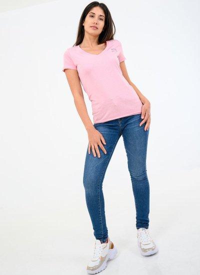 Women T-Shirts - Tops Bleu Pink Cotton Pepe Jeans
