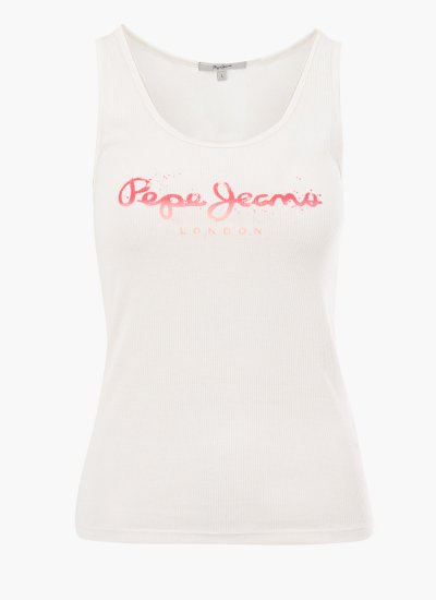 Women T-Shirts - Tops Dunia White Polyester Pepe Jeans