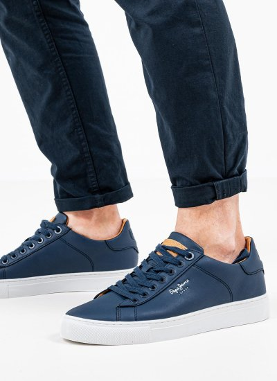 Men Casual Shoes Joe.Cup Blue Leather Pepe Jeans