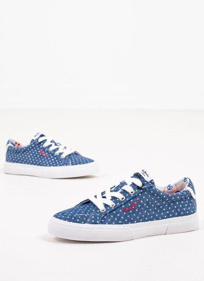 Kids Casual Shoes Kenton.Denim Blue Fabric Pepe Jeans