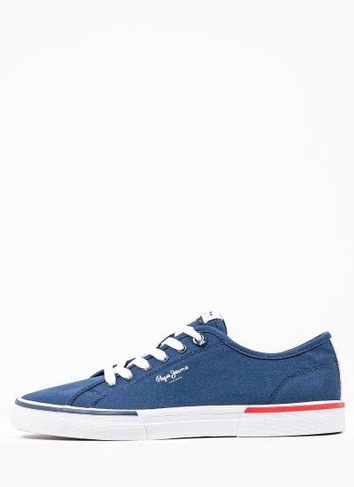 Men Casual Shoes Kenton.Smart Blue Fabric Pepe Jeans