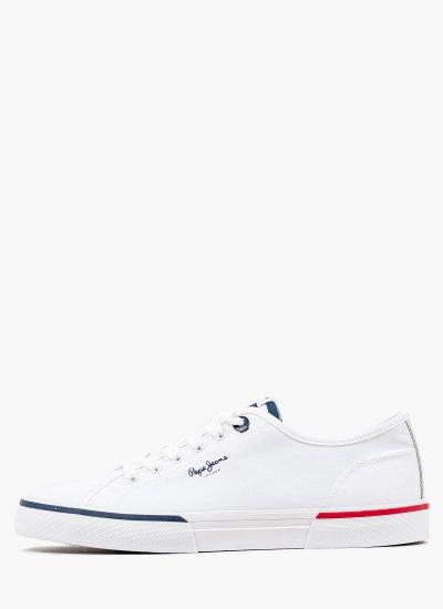 Men Casual Shoes Kenton.Smart White Fabric Pepe Jeans