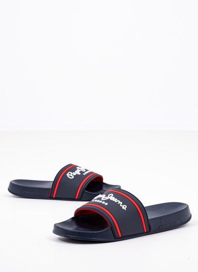 Men Flip Flops & Sandals Slider.Basic Blue Rubber Pepe Jeans