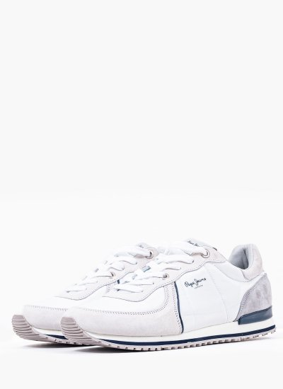 Men Casual Shoes Tinker.City White Suede Leather Pepe Jeans