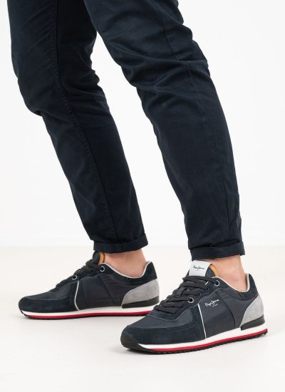 Men Casual Shoes Tinker.City Anthracite Suede Leather Pepe Jeans