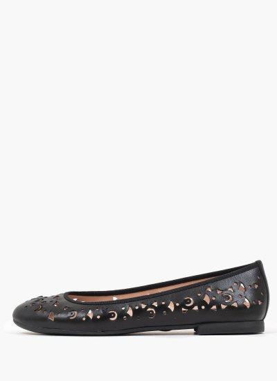 Women Balerinas 12745 Black Leather Mourtzi