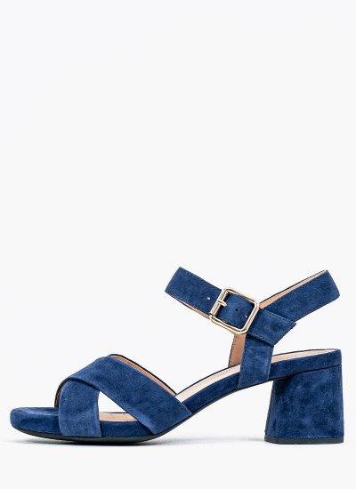 Women Sandals Low Genziana.M Blue Suede Leather Geox