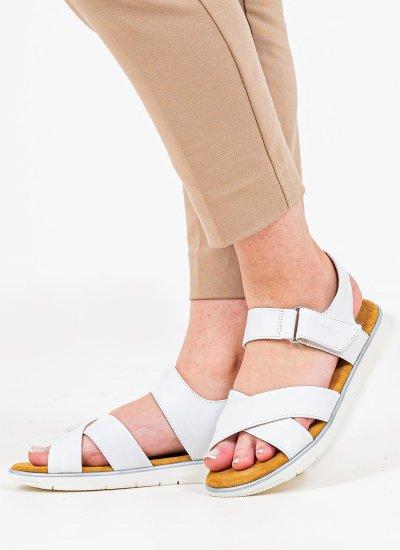 Women Flat Sandals Dandra White Leather Geox
