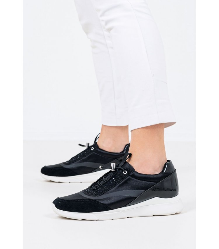 Women Casual Shoes Hiver.D Black Suede Leather Geox