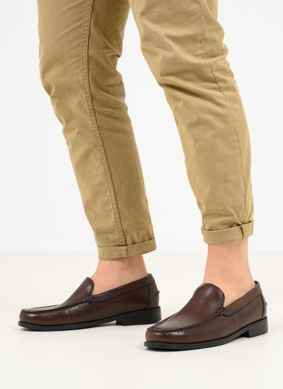 Men Moccasins New.Damon Brown Leather Geox