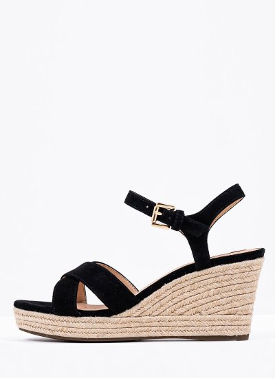 Women Platforms Low Soleil Black Suede Leather Geox
